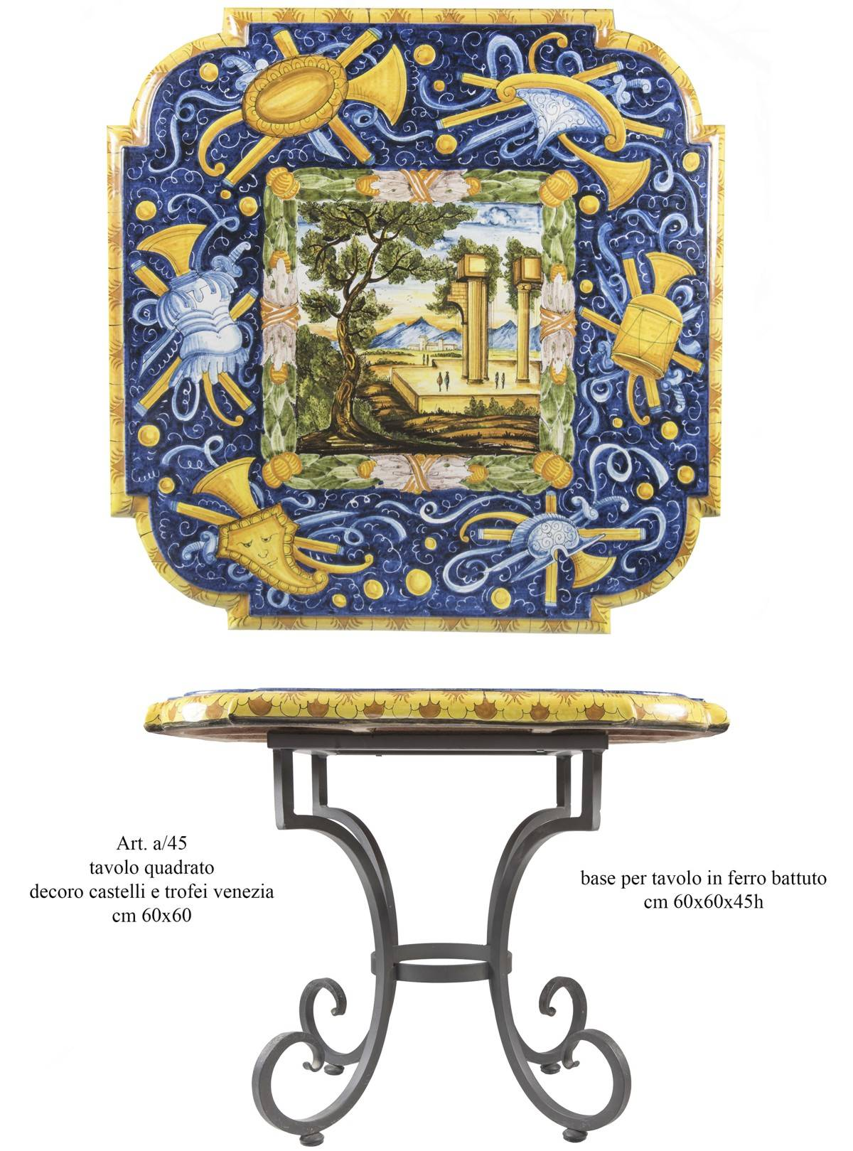 Tavoli Da Giardino Decorati.Tavoli In Ceramica Dipinti A Mano E Ferro Battuto La Chimera